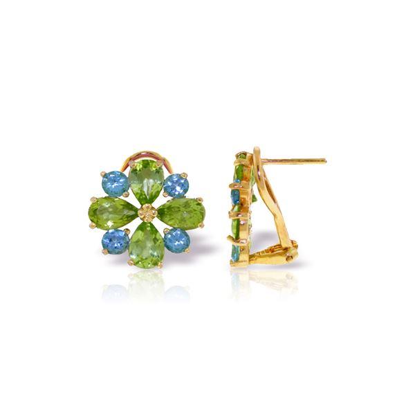 Genuine 4.85 ctw Blue Topaz & Peridot Earrings 14KT Yellow Gold - REF-58P4H