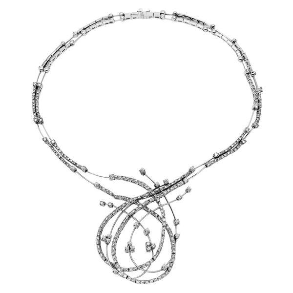 Natural 6.63 CTW Diamond Necklace 14K White Gold - REF-865K8R