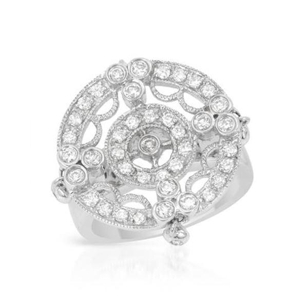Natural 0.74 CTW Diamond Ring 18K White Gold - REF-168N3Y