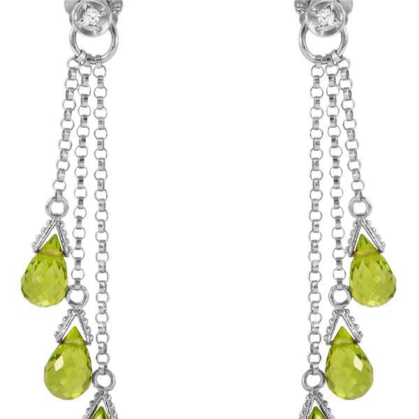 Genuine 10.53 ctw Peridot & Diamond Earrings 14KT White Gold - REF-33P7H