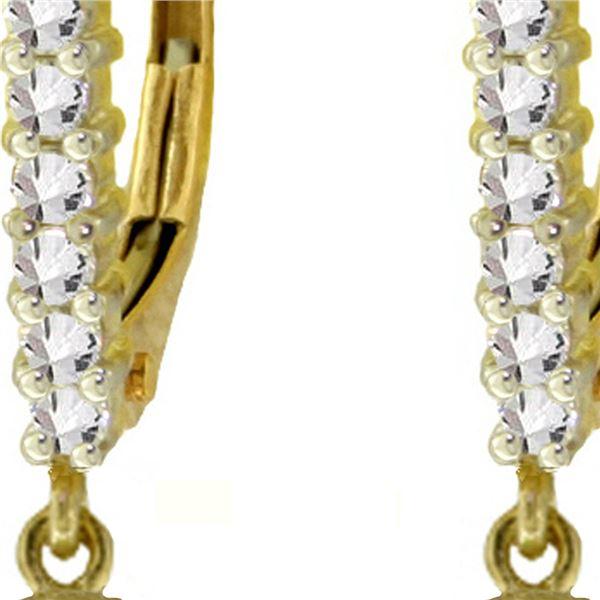 Genuine 4.8 ctw Blue Topaz & Diamond Earrings 14KT Yellow Gold - REF-53T2A