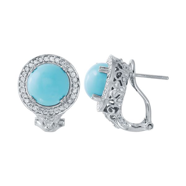 Natural 5.06 CTW Turquoise & Diamond Earrings 14K White Gold - REF-90N2Y
