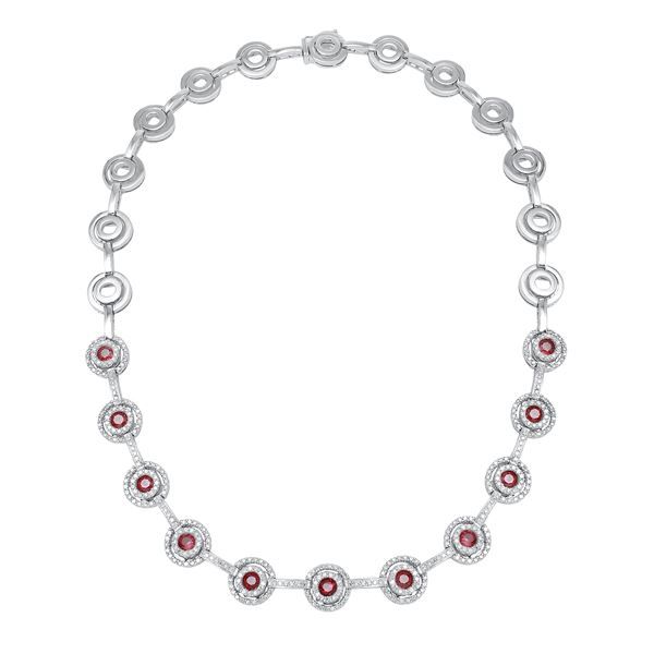 Natural 6.64 CTW Ruby & Diamond Necklace 14K White Gold - REF-592F2M