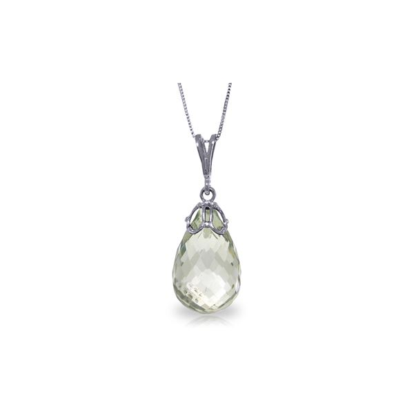 Genuine 7 ctw Green Amethyst Necklace 14KT White Gold - REF-25H3X