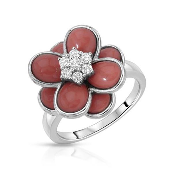 Natural 4.79 CTW Coral & Diamond Ring 18K White Gold - REF-101W7H