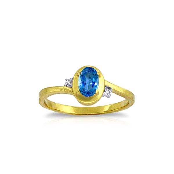 Genuine 0.51 ctw Blue Topaz & Diamond Ring 14KT Yellow Gold - REF-25Y4F