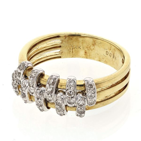 Natural 0.36 CTW Diamond Ring 14K Two Tone Yellow Gold - REF-54K9R