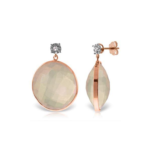Genuine 34.06 ctw Rose Quartz & Diamond Earrings 14KT Rose Gold - REF-65N3R