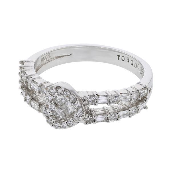 Natural 0.81 CTW Baguette & Diamond Ring 18K White Gold - REF-122T4X