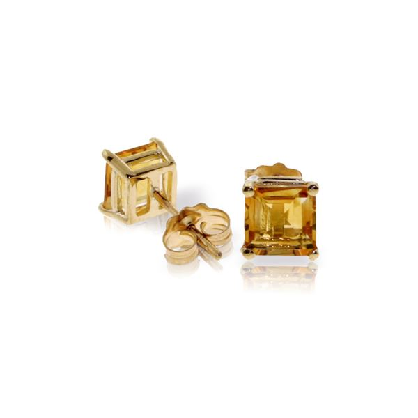 Genuine 1.75 ctw Citrine Earrings 14KT Yellow Gold - REF-24Z3N
