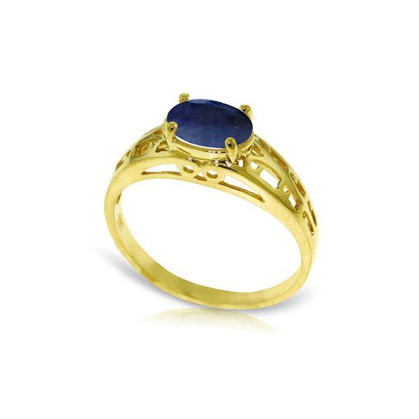 Genuine 1.15 ctw Sapphire Ring 14KT Yellow Gold - REF-35X9M