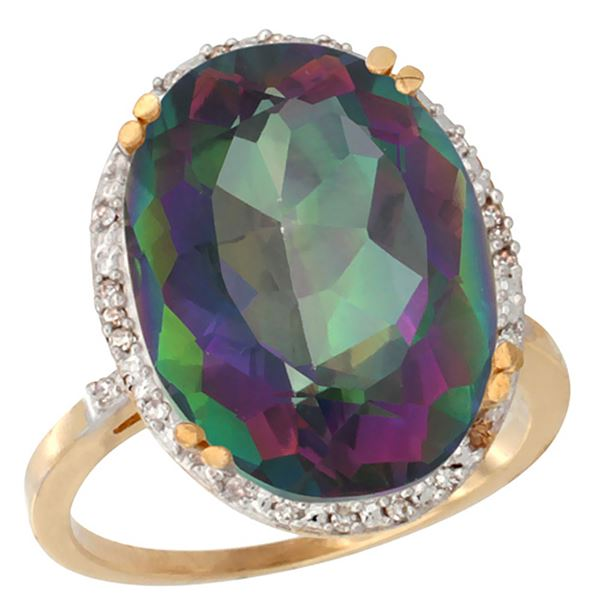 13.71 CTW Mystic Topaz & Diamond Ring 10K Yellow Gold - REF-57K6W