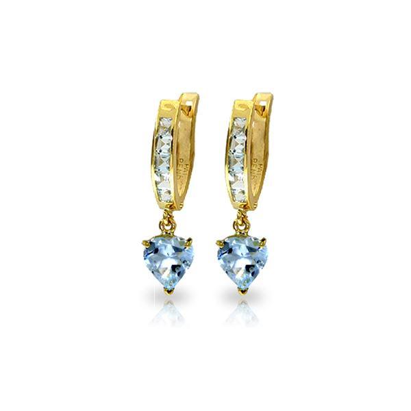 Genuine 4.1 ctw Aquamarine Earrings 14KT Yellow Gold - REF-49K2V