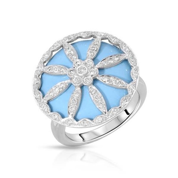 Natural 12.40 CTW Turquoise & Diamond Ring W=21MM 18K Gold - REF-92F7M