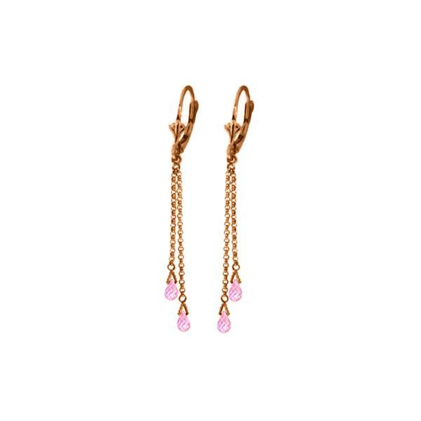 Genuine 2.5 ctw Pink Topaz Earrings 14KT Rose Gold - REF-29T7A