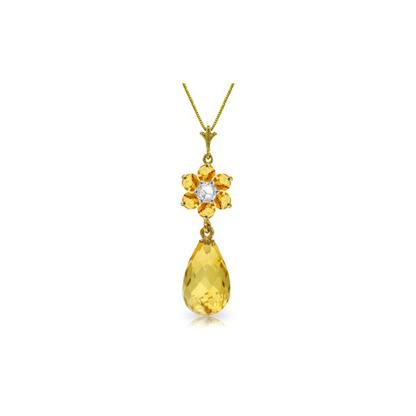 Genuine 2.78 ctw Citrine & Diamond Necklace 14KT Yellow Gold - REF-31P2H