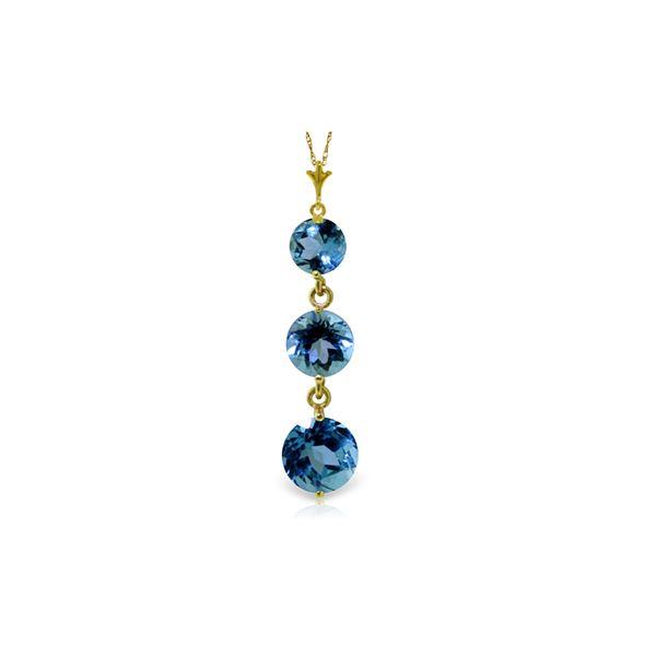 Genuine 3.6 ctw Blue Topaz Necklace 14KT Yellow Gold - REF-24V4W