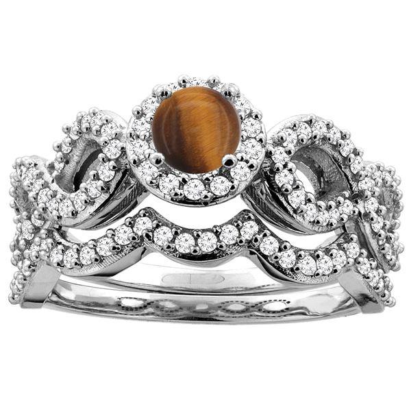 1.10 CTW Tiger Eye & Diamond Ring 14K White Gold - REF-93W5F