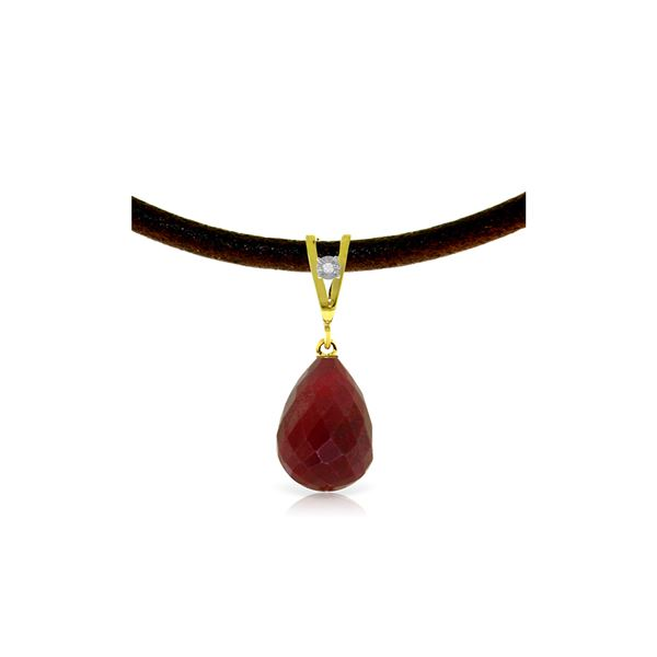 Genuine 15.51 ctw Ruby & Diamond Necklace 14KT Yellow Gold - REF-30N2R