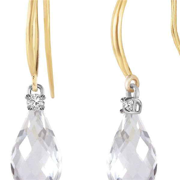 Genuine 4.6 ctw White Topaz & Diamond Earrings 14KT Yellow Gold - REF-28Y8F