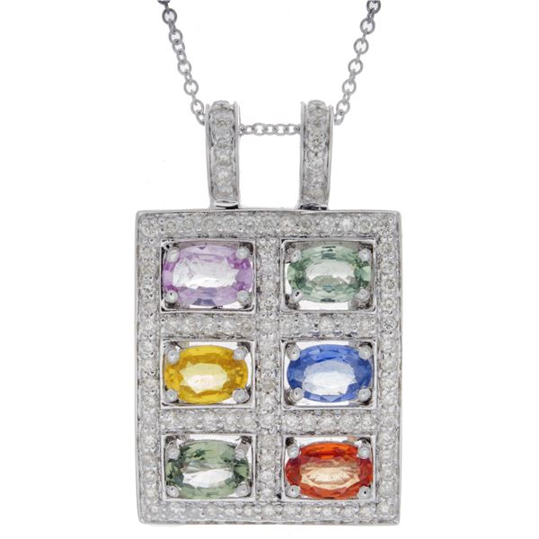 Natural 4.35 CTW Multi-Sapphire & Diamond Necklace 14K Gold - REF-113T4X
