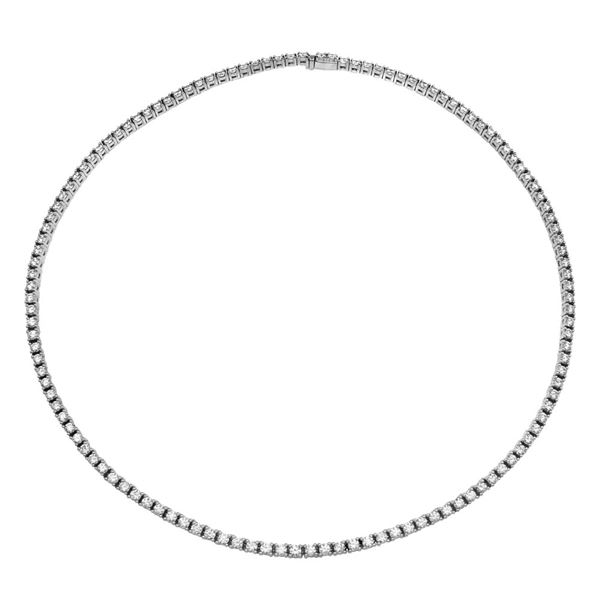 Natural 11.24 CTW Diamond Necklace 18K White Gold - REF-1535T4X