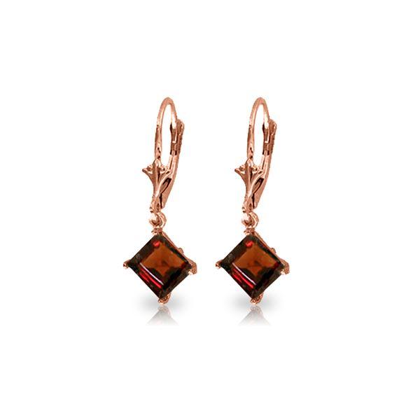 Genuine 3.2 ctw Garnet Earrings 14KT Rose Gold - REF-30H2X