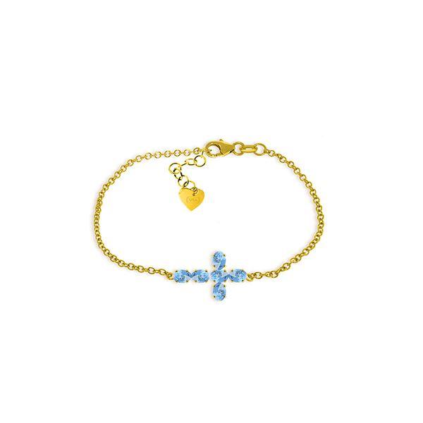 Genuine 1.70 ctw Blue Topaz Bracelet 14KT Yellow Gold - REF-59P8H