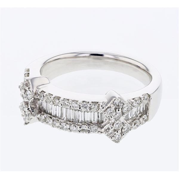 Natural 0.97 CTW Diamond & Baguette Ring 18K White Gold - REF-171F2M
