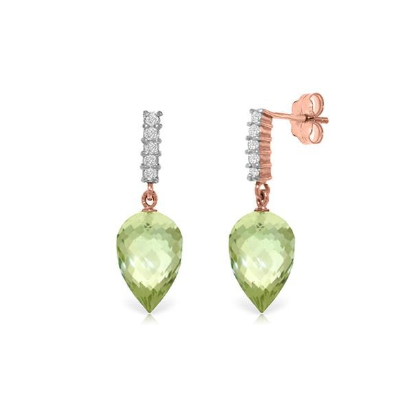 Genuine 19.15 ctw Green Amethyst & Diamond Earrings 14KT Rose Gold - REF-47H4X