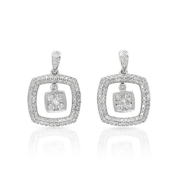 Natural 1 CTW Diamond Earrings 14K White Gold - REF-125N3Y
