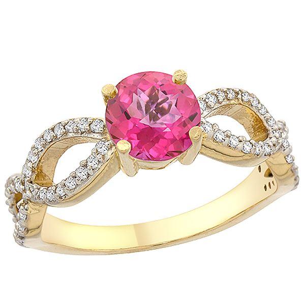 1.25 CTW Pink Topaz & Diamond Ring 10K Yellow Gold - REF-49R8H