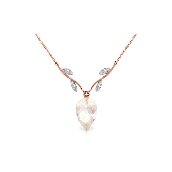 Genuine 12.27 ctw White Topaz & Diamond Necklace 14KT Rose Gold - REF-42X2M