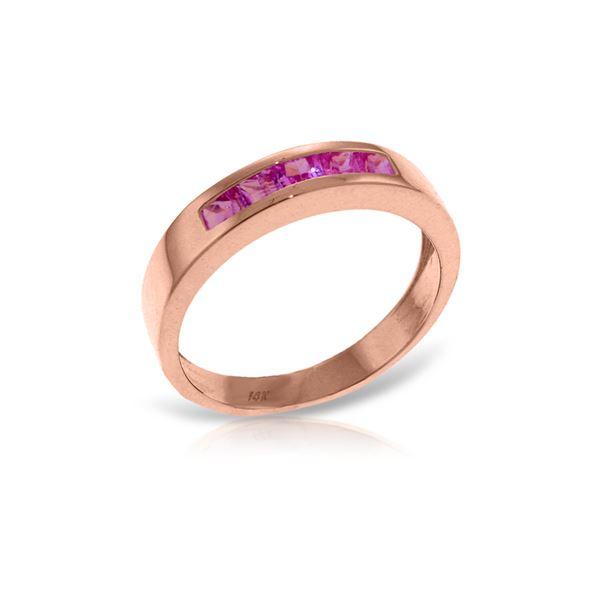 Genuine 0.60 ctw Pink Sapphire Ring 14KT Rose Gold - REF-50X5M