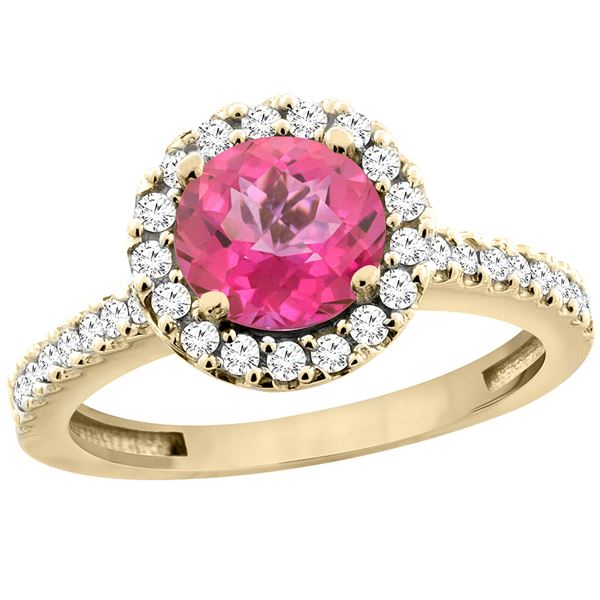 1.38 CTW Pink Topaz & Diamond Ring 14K Yellow Gold - REF-60X8M