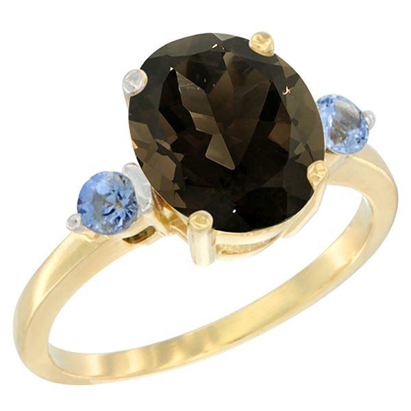 2.64 CTW Quartz & Blue Sapphire Ring 14K Yellow Gold - REF-32H3M