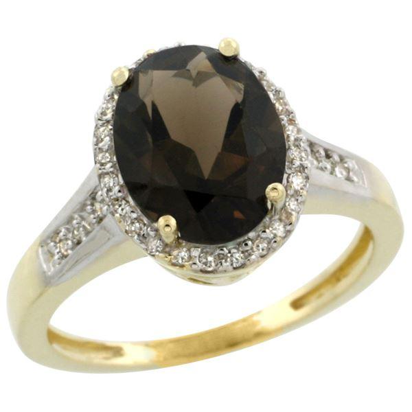 2.60 CTW Quartz & Diamond Ring 10K Yellow Gold - REF-46X7M
