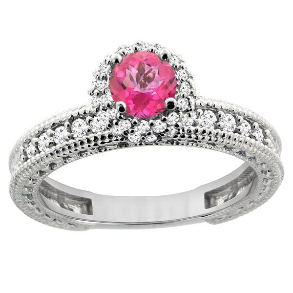 0.91 CTW Pink Topaz & Diamond Ring 14K White Gold - REF-65A9X