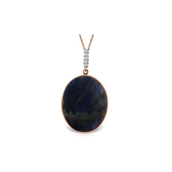 Genuine 20.08 ctw Sapphire & Diamond Necklace 14KT Rose Gold - REF-80H3X