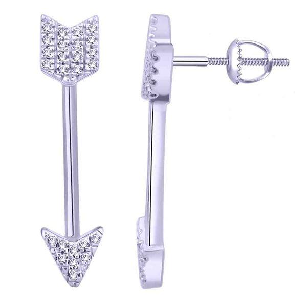 Natural 0.10 CTW Diamond Earrings 14K White Gold - REF-19F8M