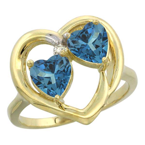 2.60 CTW London Blue Topaz & London Blue Topaz Ring 10K Yellow Gold - REF-24V4R