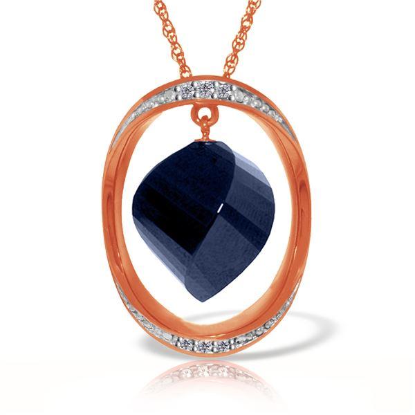 Genuine 15.35 ctw Sapphire & Diamond Necklace 14KT Rose Gold - REF-124P2H