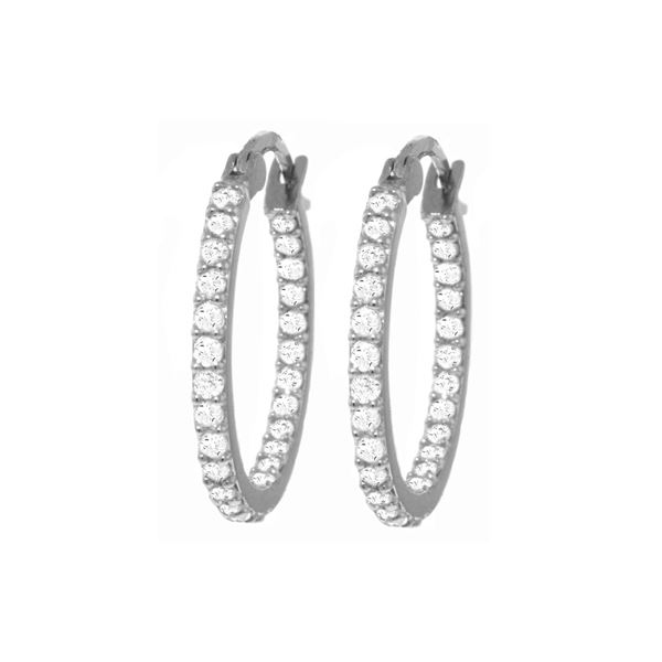 Genuine 0.75 ctw Diamond Anniversary Earrings 14KT White Gold - REF-137X2M