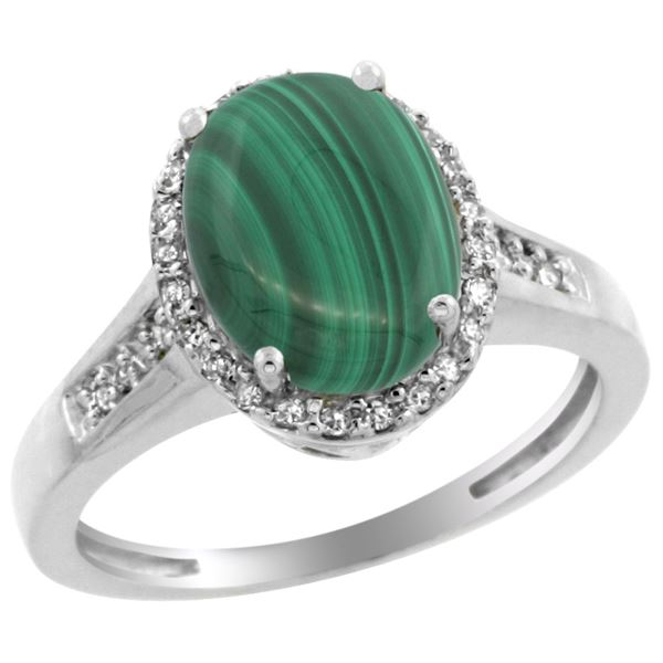 2.60 CTW Malachite & Diamond Ring 14K White Gold - REF-52A7X