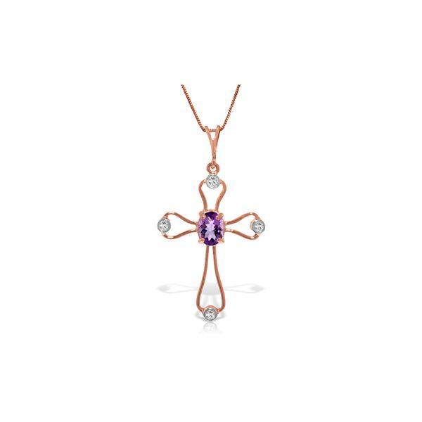 Genuine 0.57 ctw Amethyst & Diamond Necklace 14KT Rose Gold - REF-40P8H