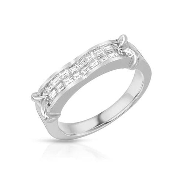 Natural 0.65 CTW Baguette Ring 14K White Gold - REF-108F2M