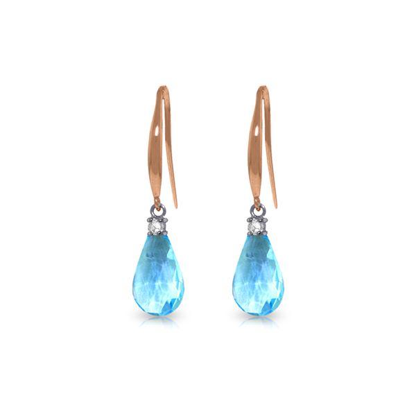 Genuine 4.6 ctw Blue Topaz & Diamond Earrings 14KT Rose Gold - REF-28H8X