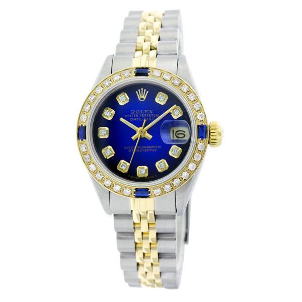 Rolex Pre-owned 26mm Womens Custom Blue Vignette Two Tone