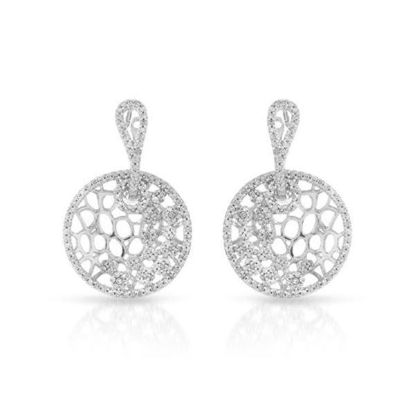 Natural 0.94 CTW Diamond Earrings 14K White Gold - REF-89T3X