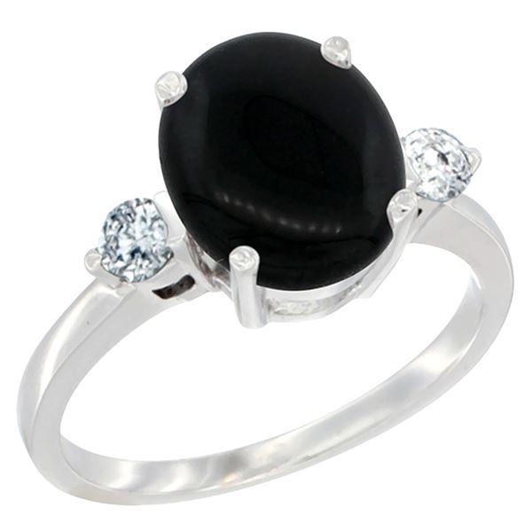 1.75 CTW Onyx & Diamond Ring 14K White Gold - REF-66Y8V